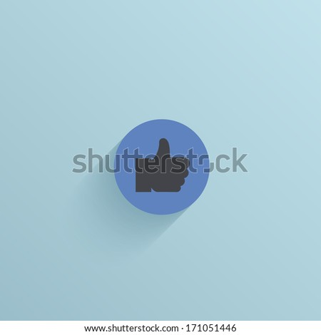 Vector flat circle icon on blue background. Eps10 - stock vector