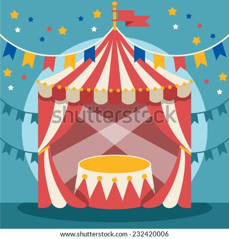 Vector flat circus illustration - stock vector