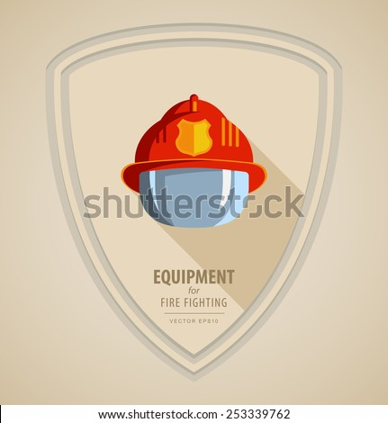 Vector flat color icon illustrations - equipment for firefighter or volunteer. Color image on light background in form emblem of the shield. Red firefighter helmet with protective glass - stock vector