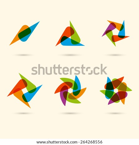 Vector flat color ornament set. Vector illustration. Eps10