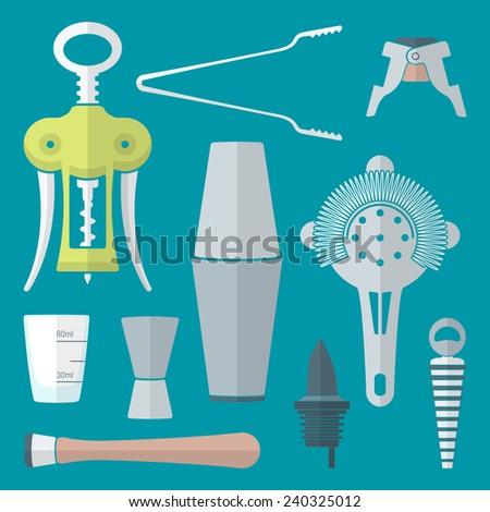 vector flat colored design barman equipment set tools pour spout, winged corkscrew, champagne plug, measuring glass, muddler, shaker, jigger, strainer  - stock vector