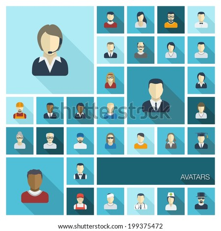 Vector flat colored icons set with long shadows. Illustration of people avatars for web, social, management, business, internet, mobile apps, interface design: man,woman, worker, doctor, worker, nurse - stock vector