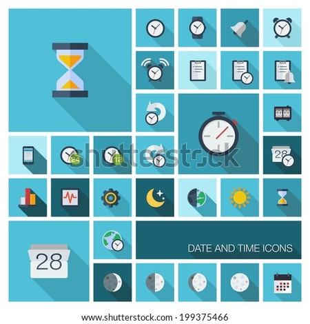 Vector flat colored icons with long shadows. Date and time pictograms in graphic illustration for business, management, web, mobile apps, interface design: clock, alarm, calendar, organizer symbols - stock vector