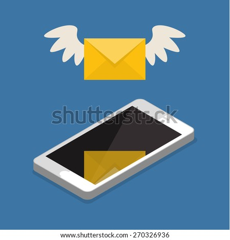 Vector flat colorful icon with fly letter or Short Message Service SMS and Mobile internet on cell phone. Messaging concept - stock vector