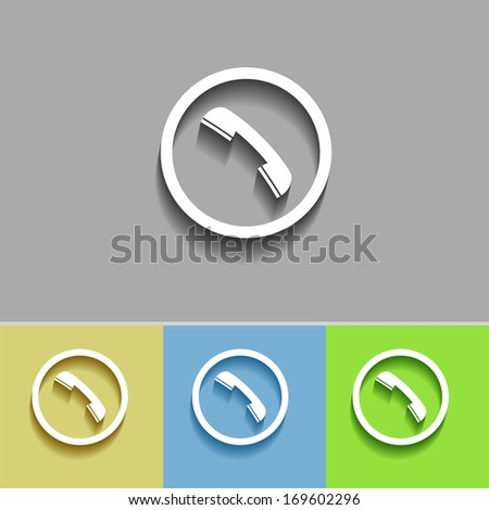 Vector flat colorful phone buttons - stock vector