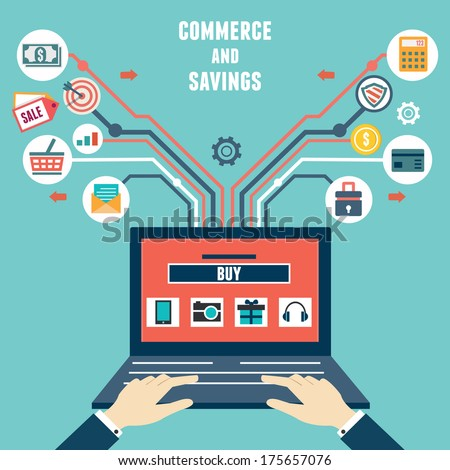 Vector flat concept of commerce and savings. Internet shopping - vector illustration  - stock vector