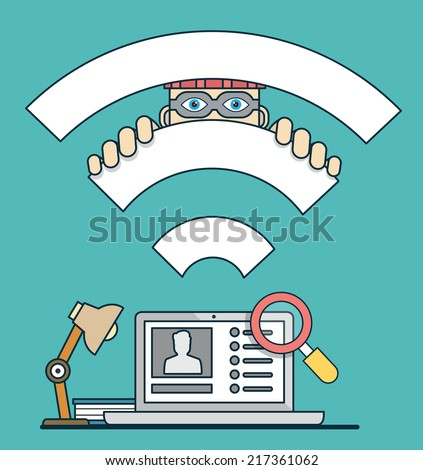 Vector flat concept of spy by social media. Hacking personal account - vector illustration - stock vector