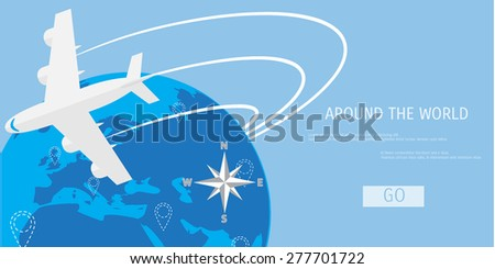 Vector flat concept of World travel and tourism. Holidays and vacation. Concepts for web banners and promotional materials. - stock vector