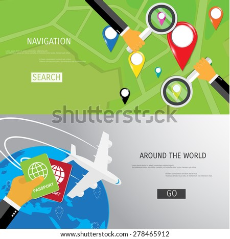 Vector flat concept of World travel and tourism. Navigation. Location search. Concepts for web banners and promotional materials. - stock vector