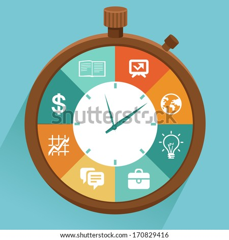 Vector flat concept - time management. Modern illustration with stopwatch and icons - how to control your life - stock vector