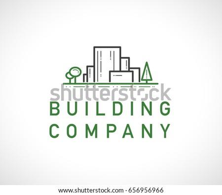Architect Company vector flat construction company brand design stock vector