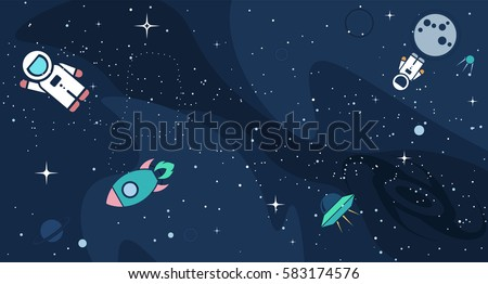 Vector flat cosmos design background cute stock vector for Outer space designs norwich