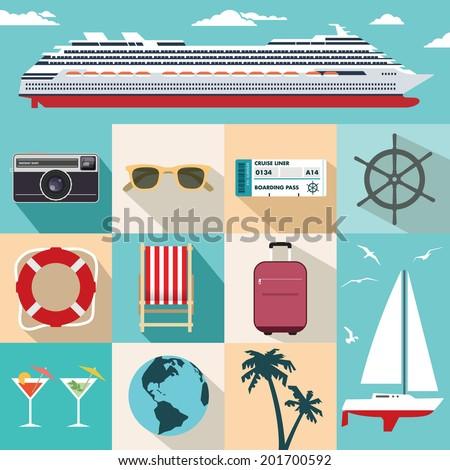 Vector flat cruise ship vacation. - stock vector
