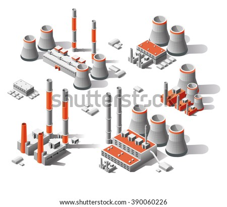 vector flat 3d isometric set factories, Isometric icon set, Set plants for energy production - stock vector