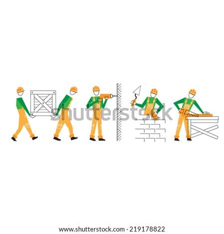 vector flat design builder - stock vector