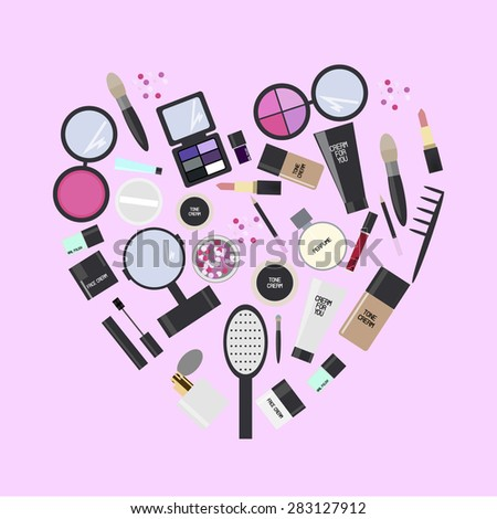 Vector flat design. Cosmetics folded into a heart. illustration on pink background.