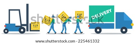 vector flat design delivery business - stock vector