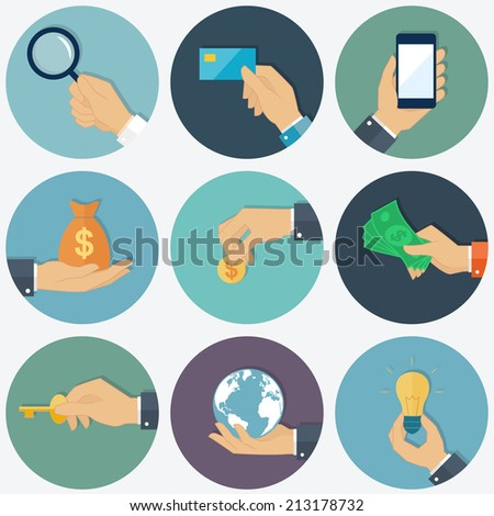 Vector flat design hands with object - stock vector