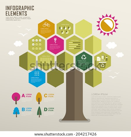 vector flat design infographic with tree element - stock vector