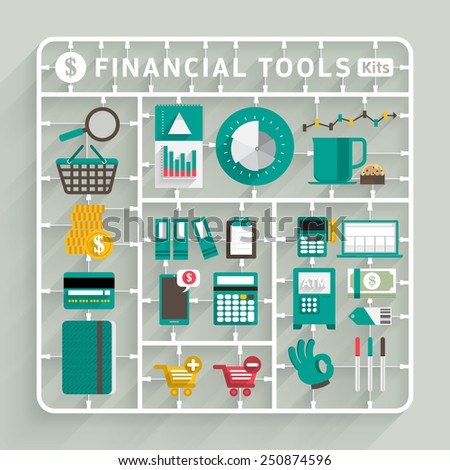 Vector flat design model kits for Financial tools. Element for use to success creative thinking - stock vector
