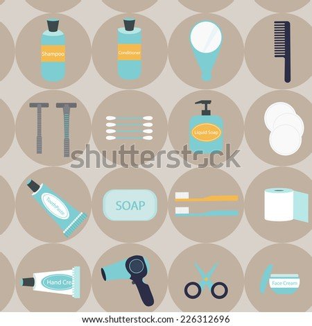 Vector flat design of travel and portable toiletry items - stock vector