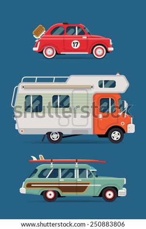 Vector flat design private transport icons on travel retro leisure cars featuring retro old surf car, caravan camping truck and basket picnic small city vintage car - stock vector