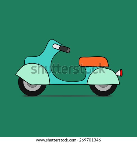 Vector flat design scooter. Classic moped, side view, isolated