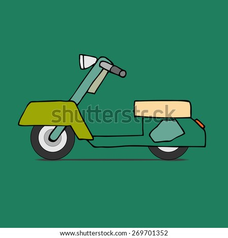 Vector flat design scooter. Classic moped, side view, isolated - stock vector