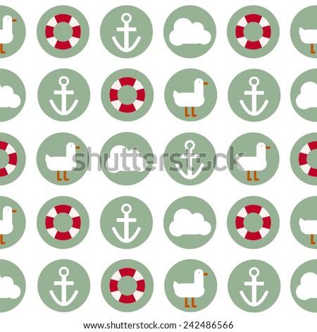 Vector flat design sea pattern. - stock vector