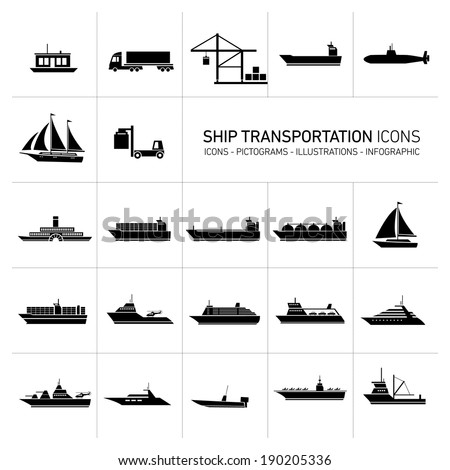 vector flat design ship and boats transportation icons and illustrations set black isolated o white background - stock vector