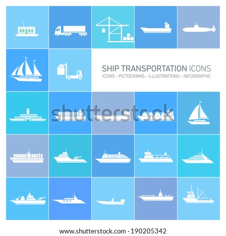 vector flat design ship and boats transportation icons and illustrations set white isolated o blue background - stock vector