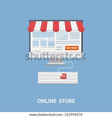 Vector flat design shopping concept,buying online and e-commerce poster,online shop and shopping elements,online store,payment online.Concept for web banners and printed materials. - stock vector