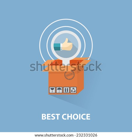 Vector flat design shopping concept,buying online and e-commerce poster,online shop and shopping elements, the best choice,hand with a raised finger, box.Concept for web banners and printed materials. - stock vector