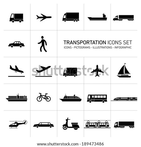 vector flat design simple transportation icons set and pictograms black monochrome illustrations isolated on white background - stock vector