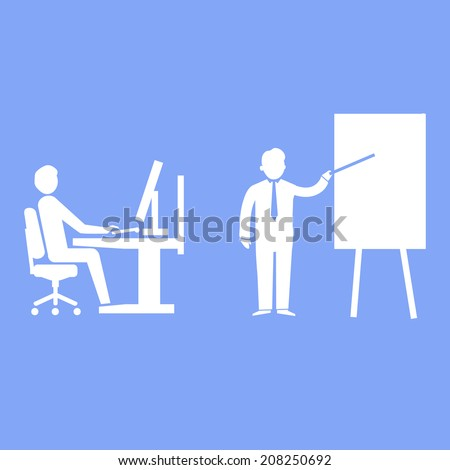 vector flat design teaching and manager training business icon | white isolated pictogram illustration on blue background - stock vector