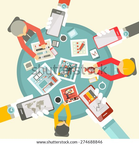 Vector Flat Design Top View Business Meeting with Table and Technology Items - stock vector