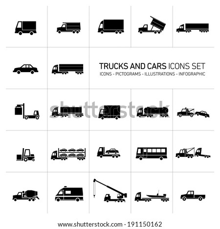 vector flat design trucks and cars transportation and shipping icons set modern black illustrations isolated on white background - stock vector