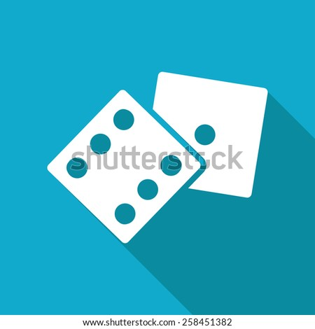 Vector flat dice icon isolated on blue background Eps10  - stock vector