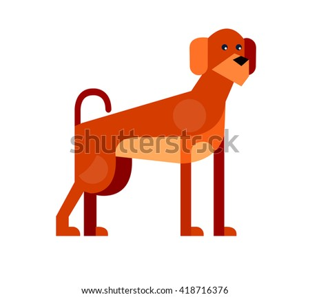 Vector flat dog. Vector detailed dog Isolated on white - stock vector