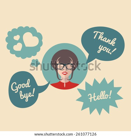 Vector flat female round icon with speech bubbles and text Hello! Good bye! Thank you! - stock vector