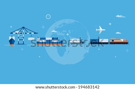 Vector flat global transportation concept illustration. - stock vector
