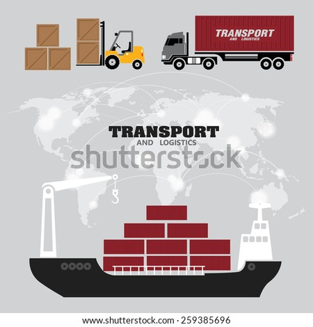 Vector flat global transportation concept illustration. - stock vector