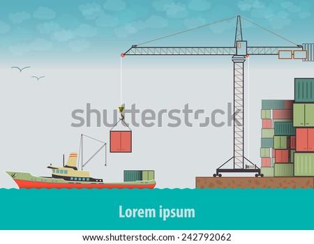 Vector flat global transportation concept illustration. Cargo ships in harbor. - stock vector