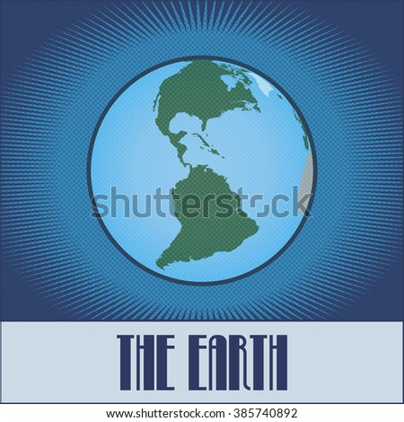 Vector flat globe of the Earth made in pop art / comic book / retro style with Ben-Day dots. With a gradient, transparencies and blending modes.  - stock vector