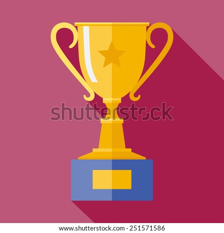 Vector flat golden trophy goblet icon with long shadow. Winner award. Eps10 - stock vector