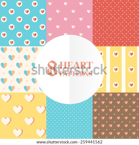 Vector flat heart texture set, ornament, design elements for greeting card or packing paper, EPS 8
