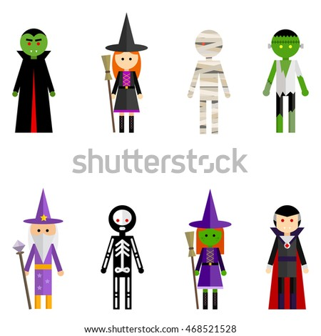 Vector Flat Icon Collection Halloween Characters Stock Vector ...