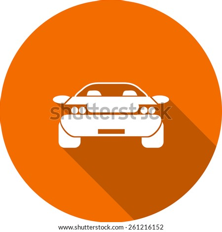 Vector Flat Icon of car. Isolated on stylish color background. Element with a long shadow. Modern illustration for web and mobile. - stock vector