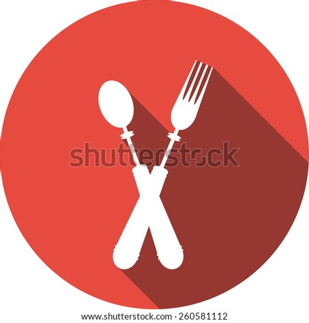 Vector Flat Icon of fork and spoon. Isolated on stylish color background. Element with a long shadow. Modern illustration for web and mobile.