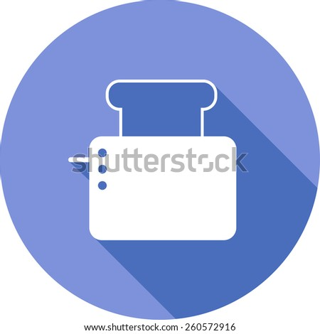 Vector Flat Icon of toaster. Isolated on stylish color background. Element with a long shadow. Modern illustration for web and mobile. - stock vector
